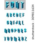 set of isometric glass font | Shutterstock . vector #309811634