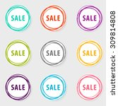 colorful circle icon of sale.... | Shutterstock .eps vector #309814808