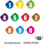 numbers colorful set. vector... | Shutterstock .eps vector #309815504
