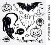set of different halloween... | Shutterstock .eps vector #309817328