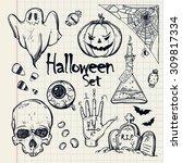 set of different halloween... | Shutterstock .eps vector #309817334