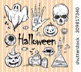 set of different halloween... | Shutterstock .eps vector #309817340