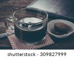 cup of coffee and breakfast... | Shutterstock . vector #309827999