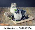 healthy breakfast or morning... | Shutterstock . vector #309831554