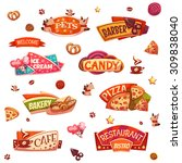 vector set of brightly banners... | Shutterstock .eps vector #309838040