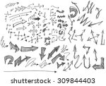 vector hand drawn arrows set... | Shutterstock .eps vector #309844403