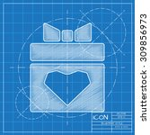 vector blueprint present heart... | Shutterstock .eps vector #309856973