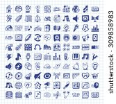 doodle music icons | Shutterstock .eps vector #309858983