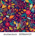 vintage hand drawn floral... | Shutterstock .eps vector #309864419