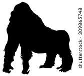 black silhouette of mountain... | Shutterstock .eps vector #309865748