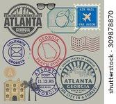 retro postage stamps set ... | Shutterstock .eps vector #309878870