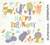 lovely card with crocodile ... | Shutterstock .eps vector #309889694