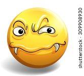 monster face on round badge...   Shutterstock .eps vector #309908930