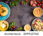 table served with middle... | Shutterstock . vector #309910760