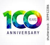 100 years old celebrating...   Shutterstock .eps vector #309912386