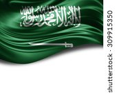 saudi arabia  flag of silk with ... | Shutterstock . vector #309915350