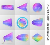 colored paper banners set.... | Shutterstock .eps vector #309915740