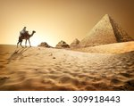 bedouin on camel near pyramids... | Shutterstock . vector #309918443