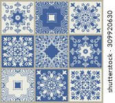 collection of 9 ceramic tiles... | Shutterstock .eps vector #309920630