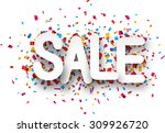 white sale sign over confetti... | Shutterstock .eps vector #309926720