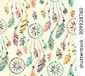 Seamless pattern with hand drawn native Indian-American dream catcher.