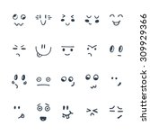 sketched facial expressions set.... | Shutterstock .eps vector #309929366