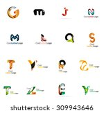 set of colorful abstract letter ... | Shutterstock .eps vector #309943646