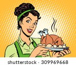 a woman with a hot dish bird in ... | Shutterstock .eps vector #309969668