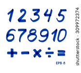 set of numbers and mathematical ... | Shutterstock .eps vector #309972374