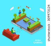 mobile gaming flat isometric... | Shutterstock .eps vector #309973124