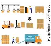 freight transportation and... | Shutterstock .eps vector #309975698