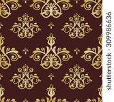 damask seamless ornament. fine  ... | Shutterstock . vector #309986636
