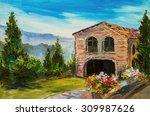 Oil Painting   Italian Village...