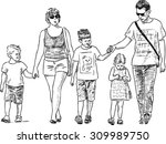 young family on a stroll | Shutterstock .eps vector #309989750