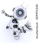 3d render of a robot waving... | Shutterstock . vector #309991340