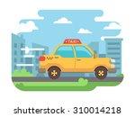 yellow taxi speeds down street... | Shutterstock .eps vector #310014218