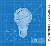 vector blueprint lightbulb icon ... | Shutterstock .eps vector #310028738