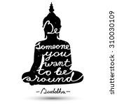 sitting buddha silhouette with... | Shutterstock .eps vector #310030109