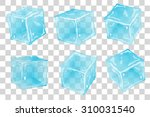 set transparent ice cubes in... | Shutterstock .eps vector #310031540