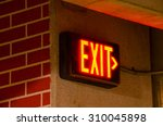Glowing electrical exit sign...