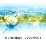 globe on the technical...   Shutterstock . vector #310049036