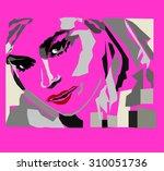 pop art woman. vector...   Shutterstock .eps vector #310051736