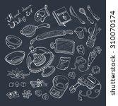 baking items doodle set.... | Shutterstock .eps vector #310070174