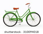 A Green Retro Bicycle For City
