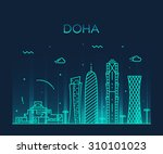 Stock vector doha skyline detailed silhouette trendy vector illustration linear style 310101023