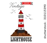 lighthouse on the rocks with...   Shutterstock .eps vector #310115390