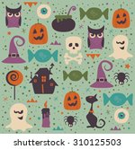 halloween seamless pattern.... | Shutterstock .eps vector #310125503