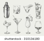 set of sketch cocktails and... | Shutterstock .eps vector #310136180