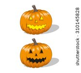 Stock vector halloween jack o lantern pumpkin isolated illustration 310145828