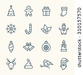 christmas line icons | Shutterstock .eps vector #310157570